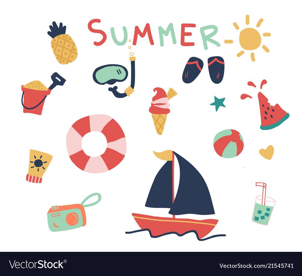 Hand drawn of cute summer elements