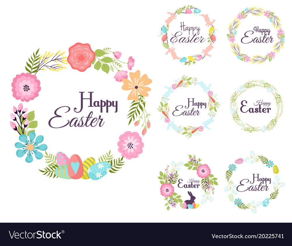 Happy easter hand drawn badge hand lettering
