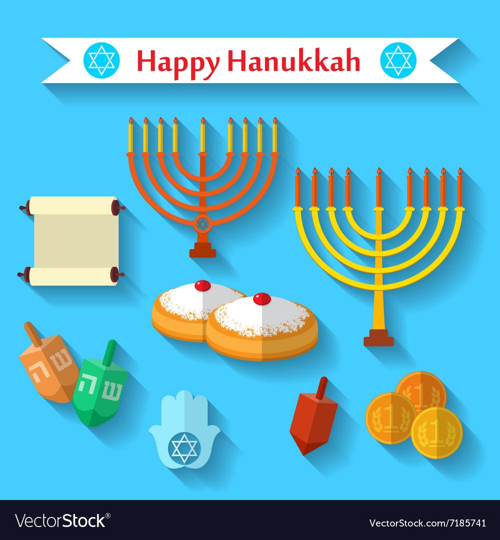 Happy Hanukkah flat icons set with dreidel game