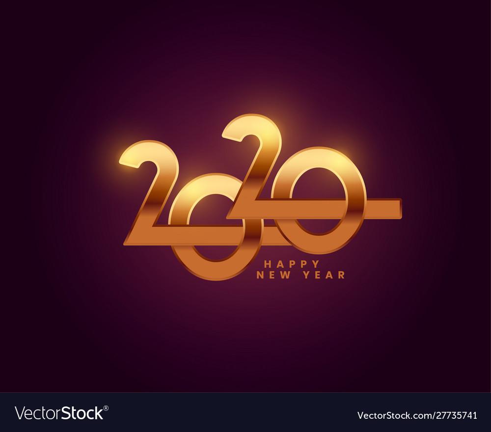 Happy New Year 2020 Golden Text Wallpaper Design