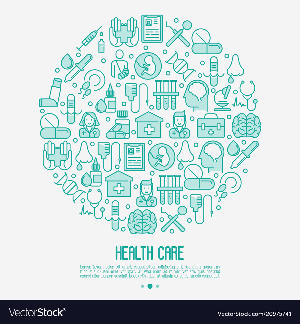 Health care concept in circle with thin line icons