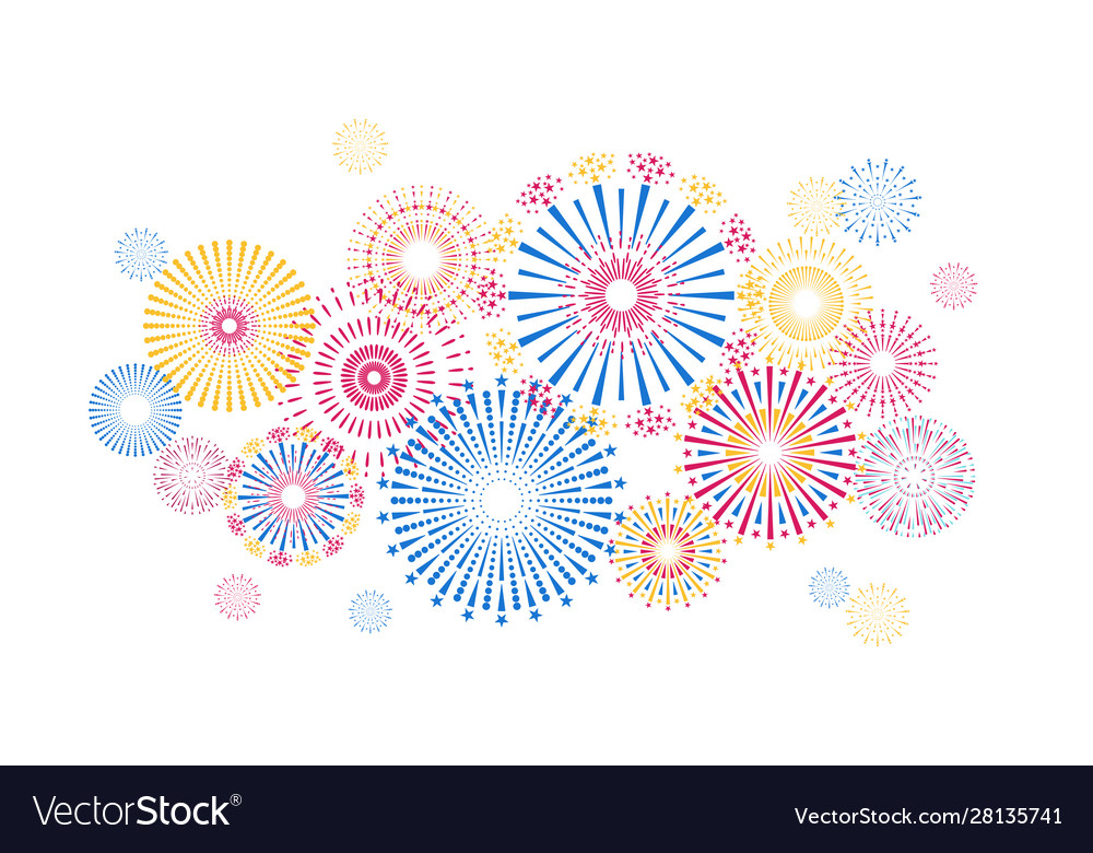 Holiday firework background colorful new year and