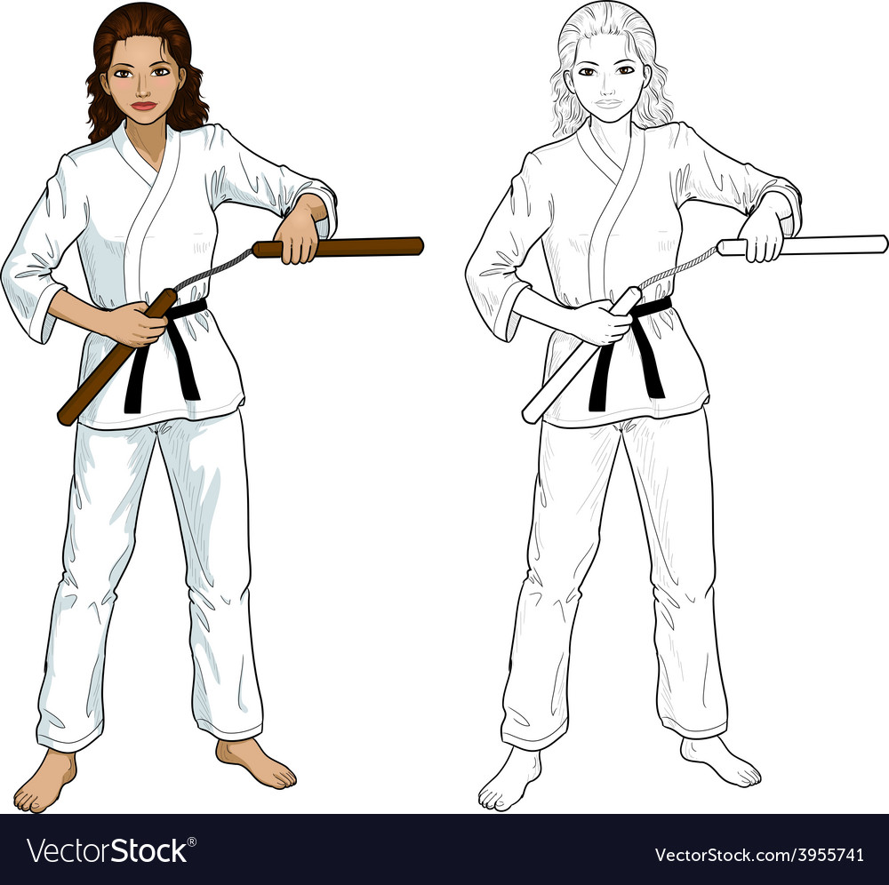 Indonesian Nunchuck girl in karategi vector image