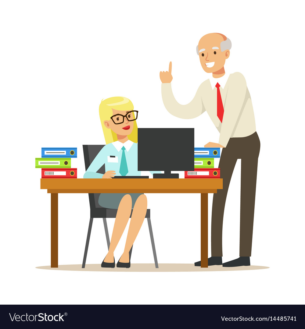 Mature chief giving instructions to his secretary vector image