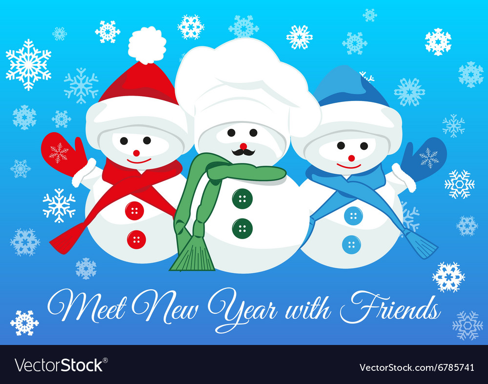 Snowmen friends greet new year