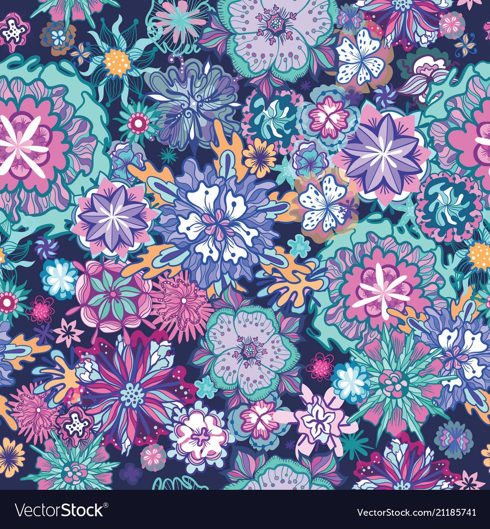 Summer doodle floral pattern