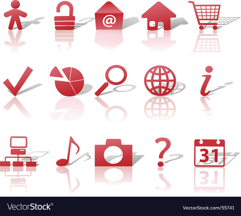 Web red icons set vector image