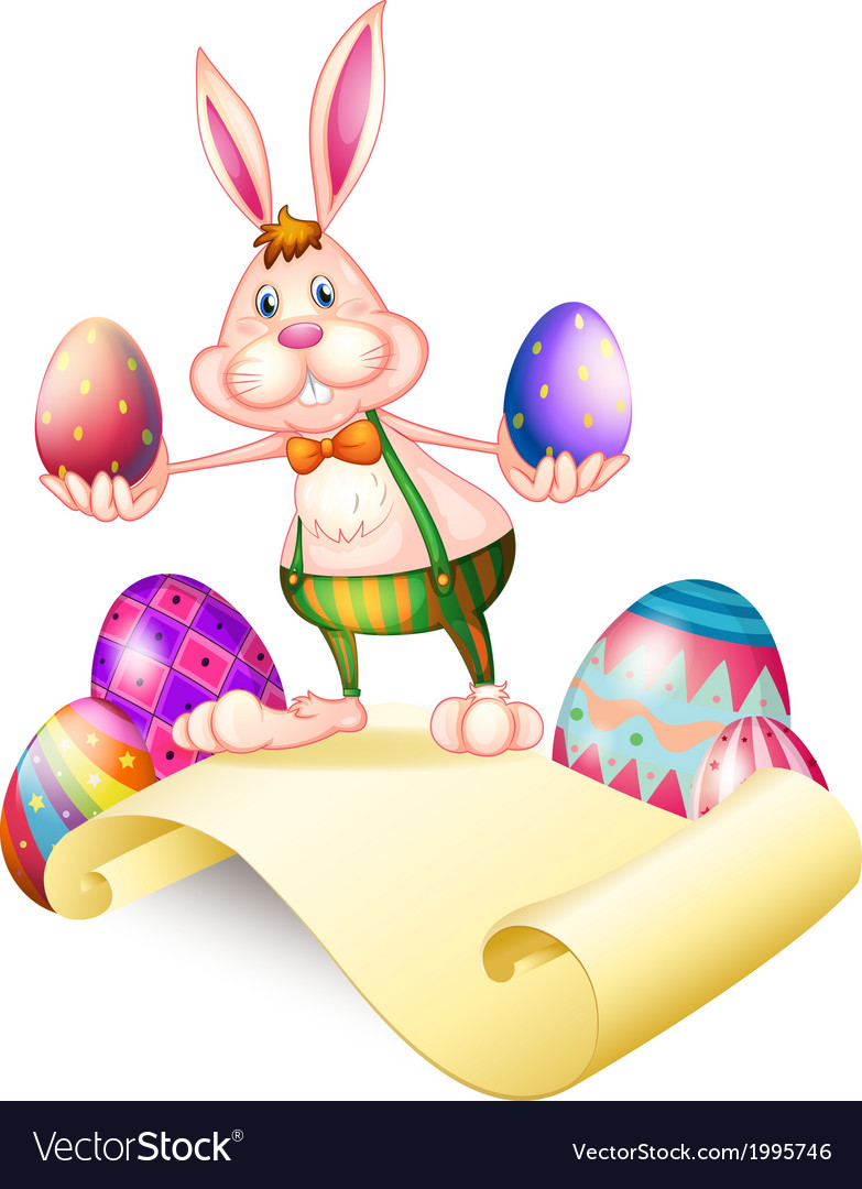 A Rabbit Holding Two Easter Eggs Vector Image
