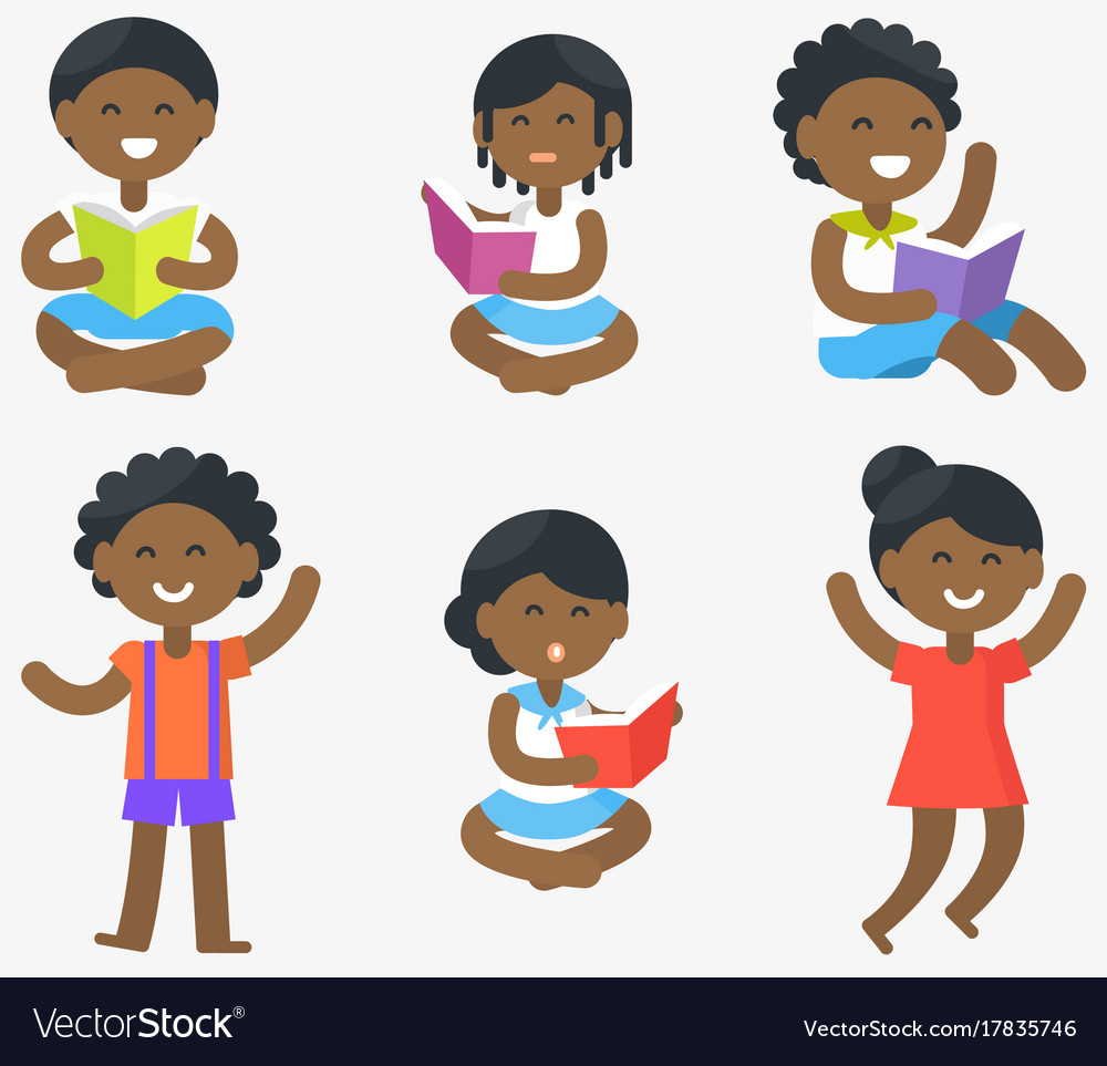 African children read and stand set vector image