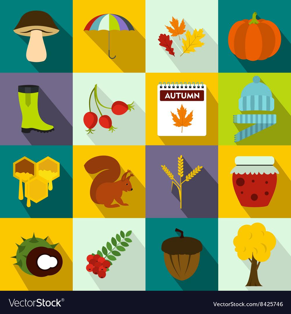 Autumn icons set flat style