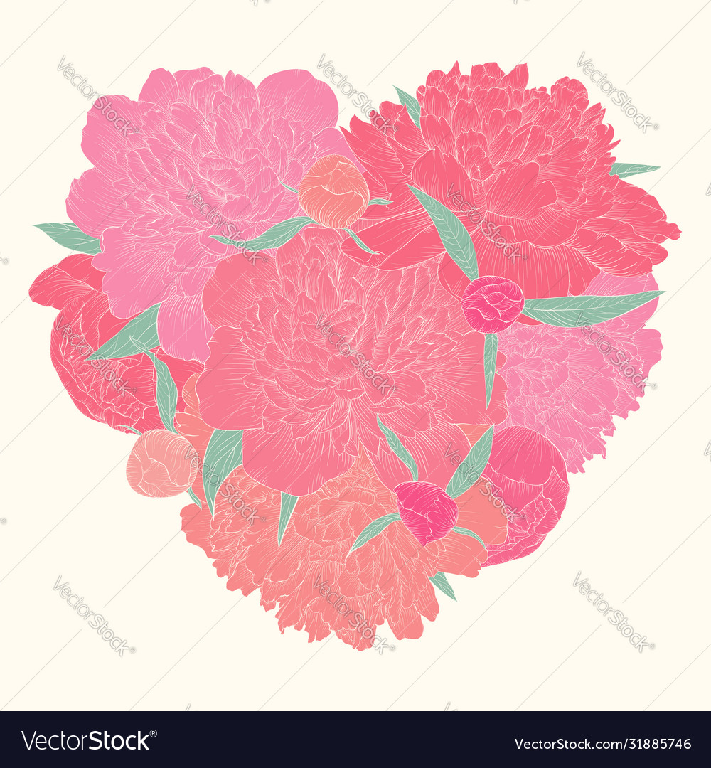 Beautiful heart decorated flowers peony i love