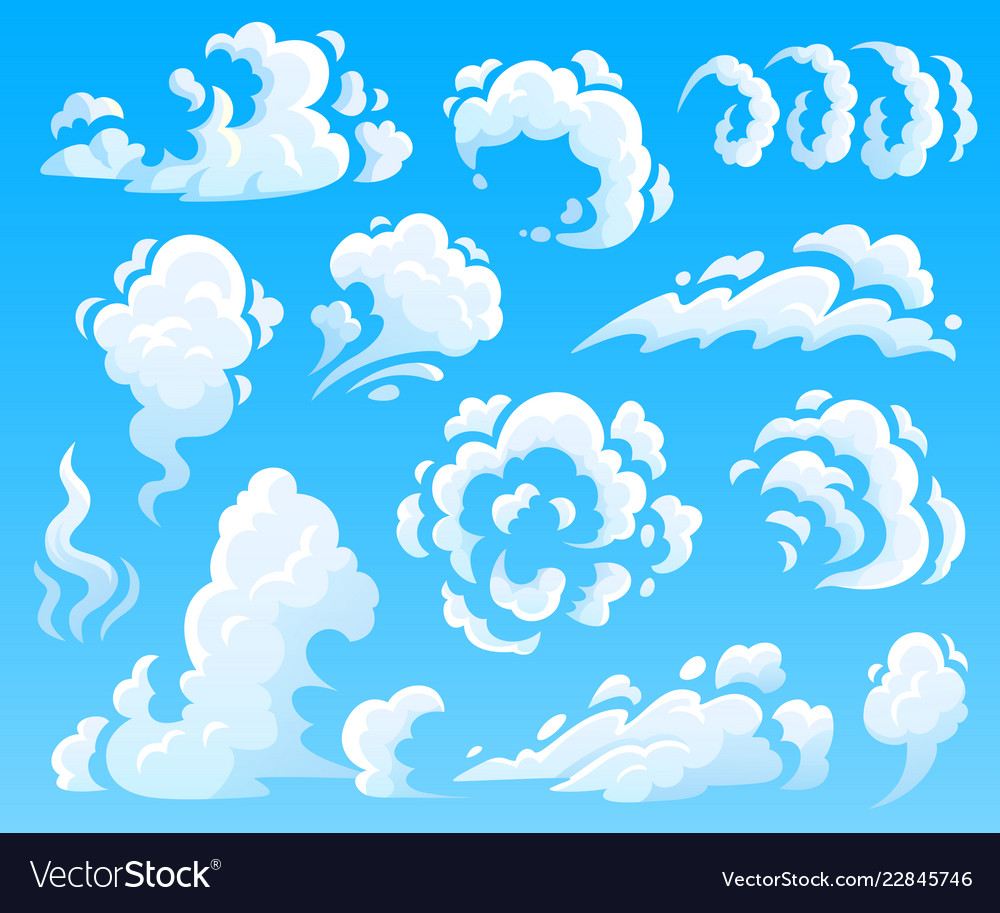 Cartoon clouds and smoke dust cloud fast action