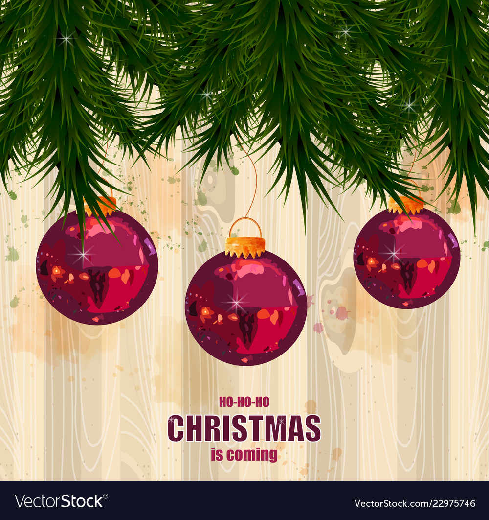 Christmas card with fir tree and baubles