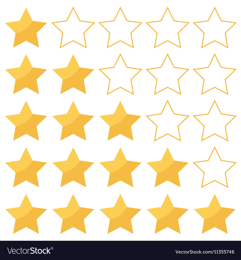 Five stars rating isolated on white background