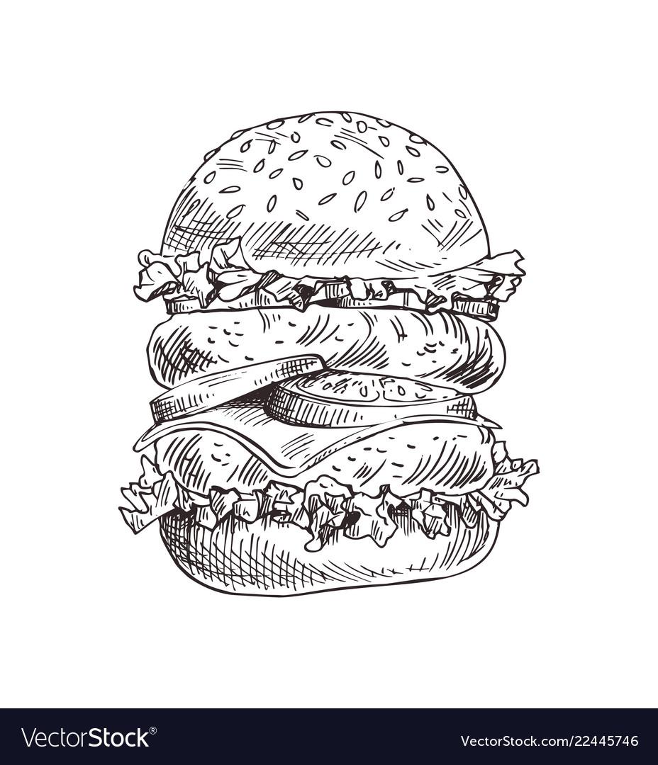 Hand drawn double burger monochrome sketch