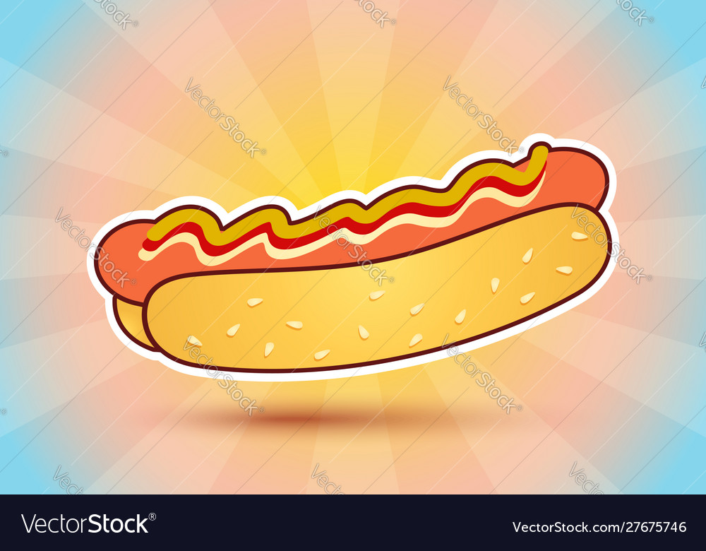 Hot dog on abstract background
