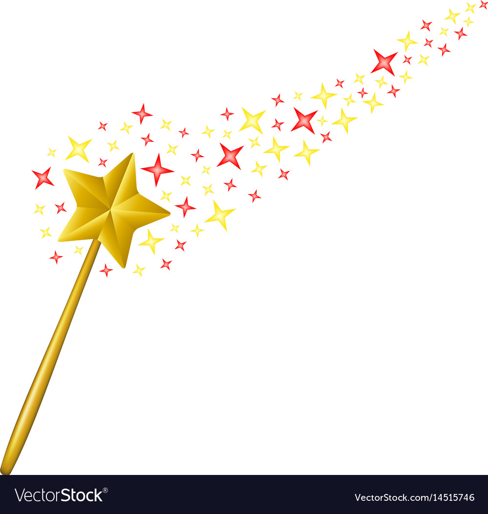 Magic wand with coloured stars vector image
