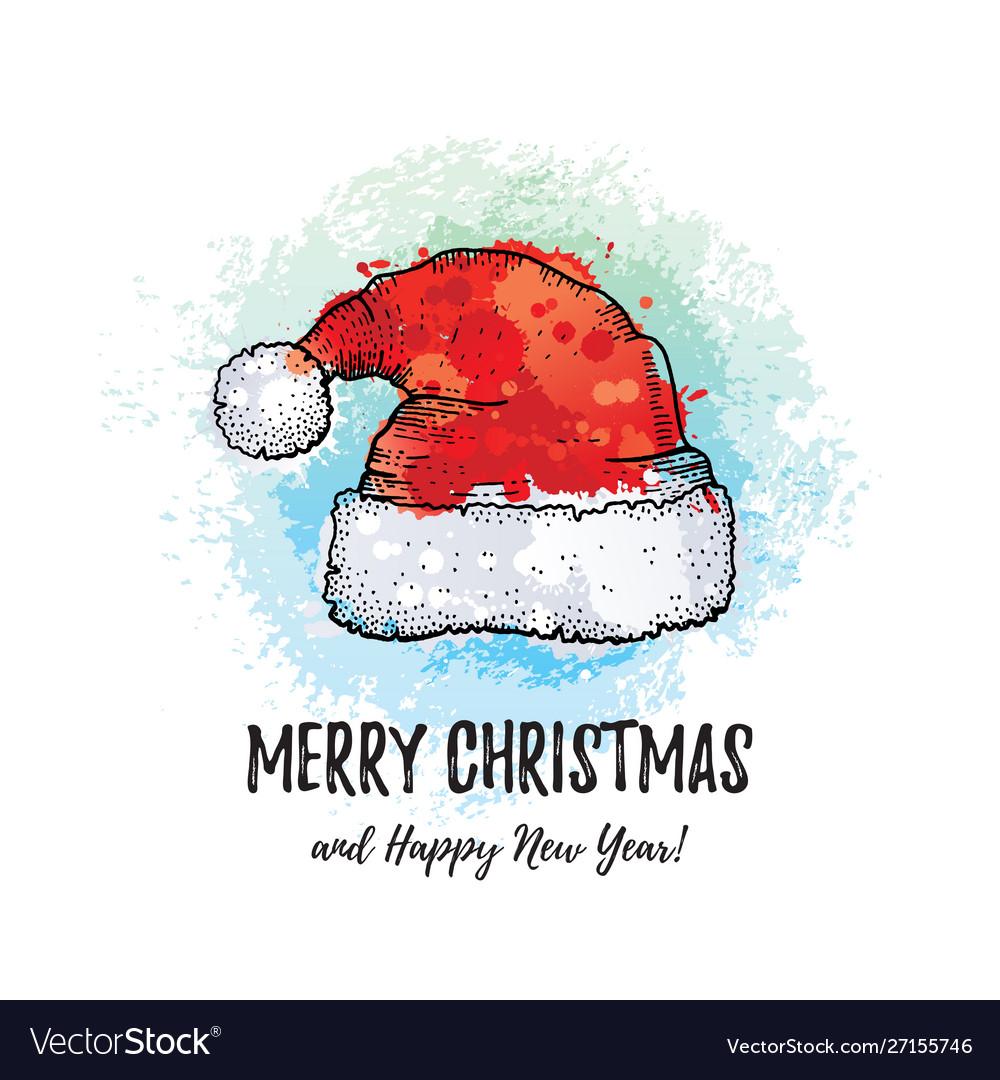 Merry christmas greeting card santa claus hat