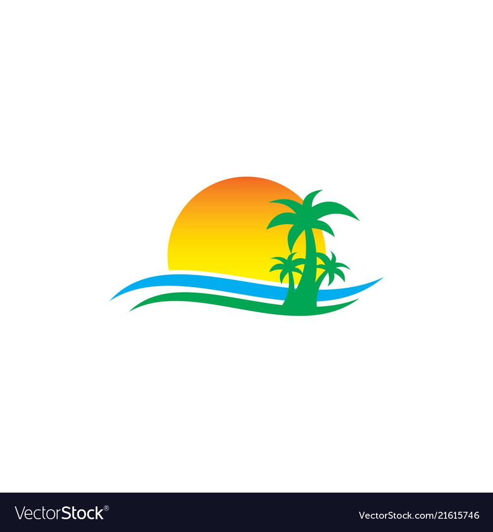 Palm tree sunset travel island