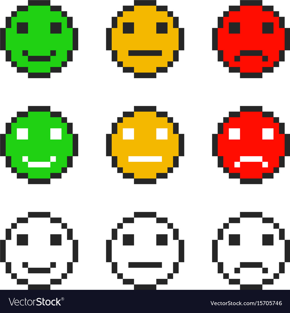 Pixel Emoji Symbol Faces Emotion Set Royalty Free Vector