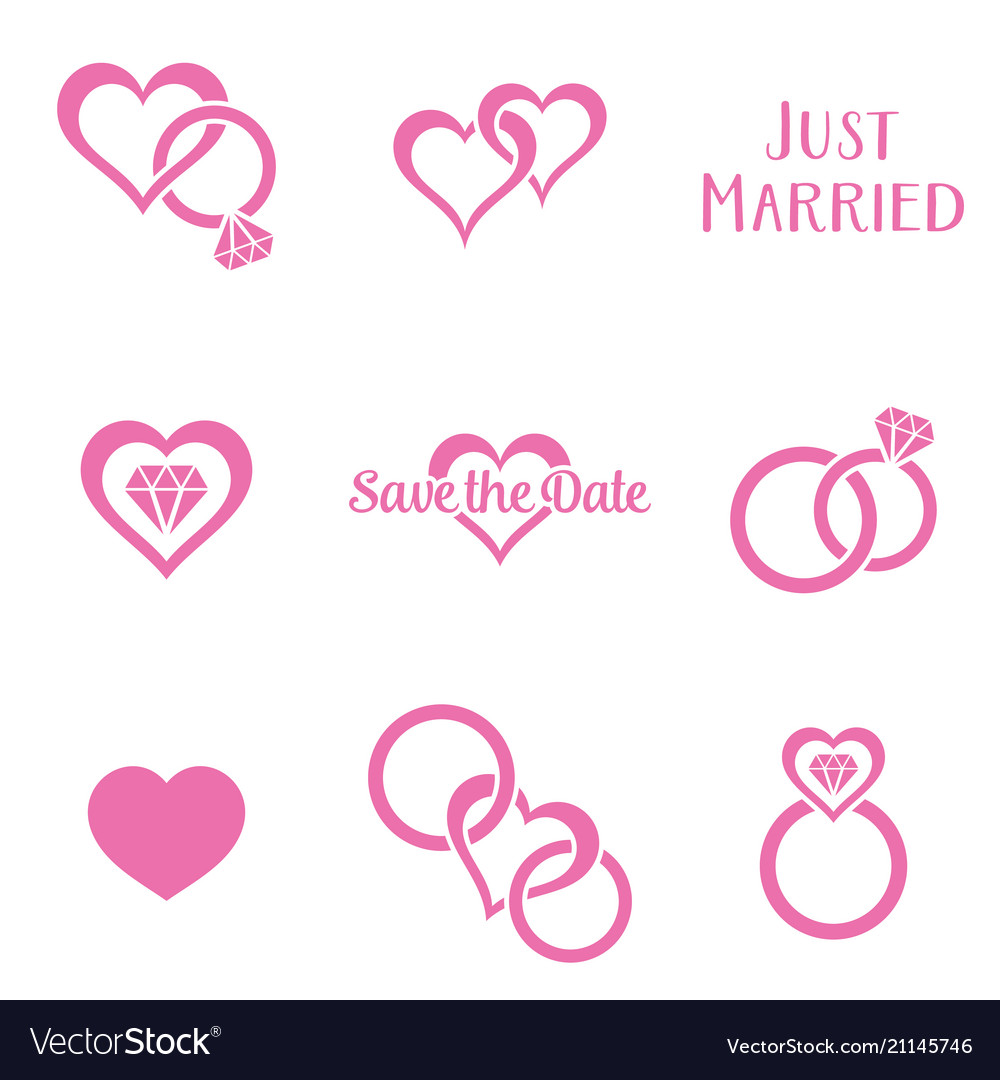 Simple monochrome wedding symbols