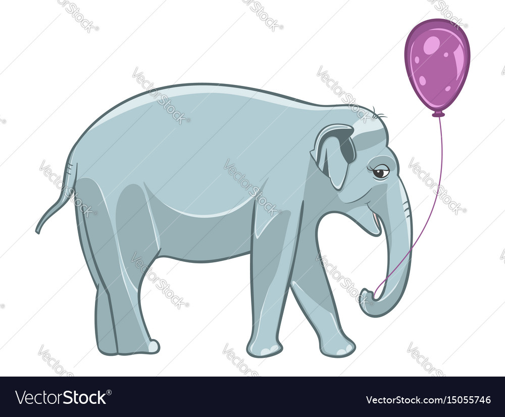 Smiling baby elephant with purple balloon