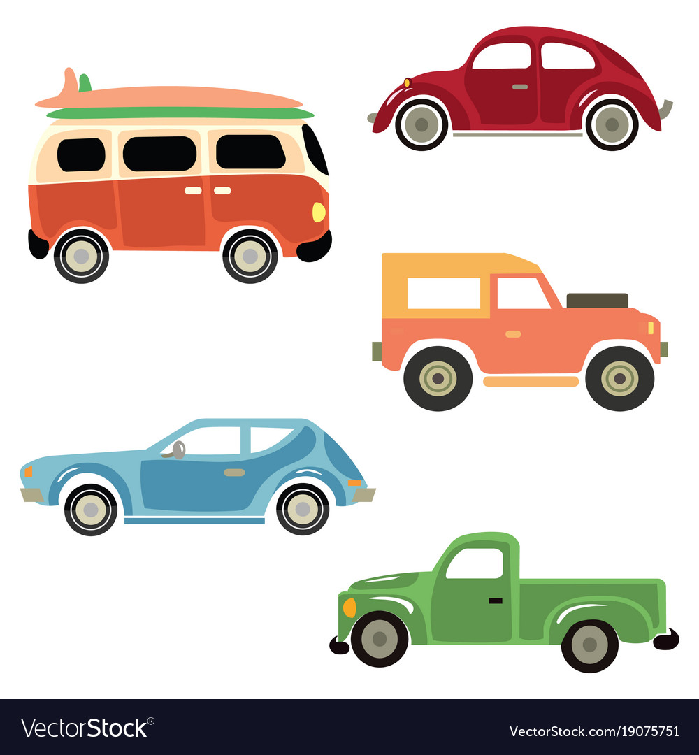 A set of cartoon cars collection of old cars Vector Image