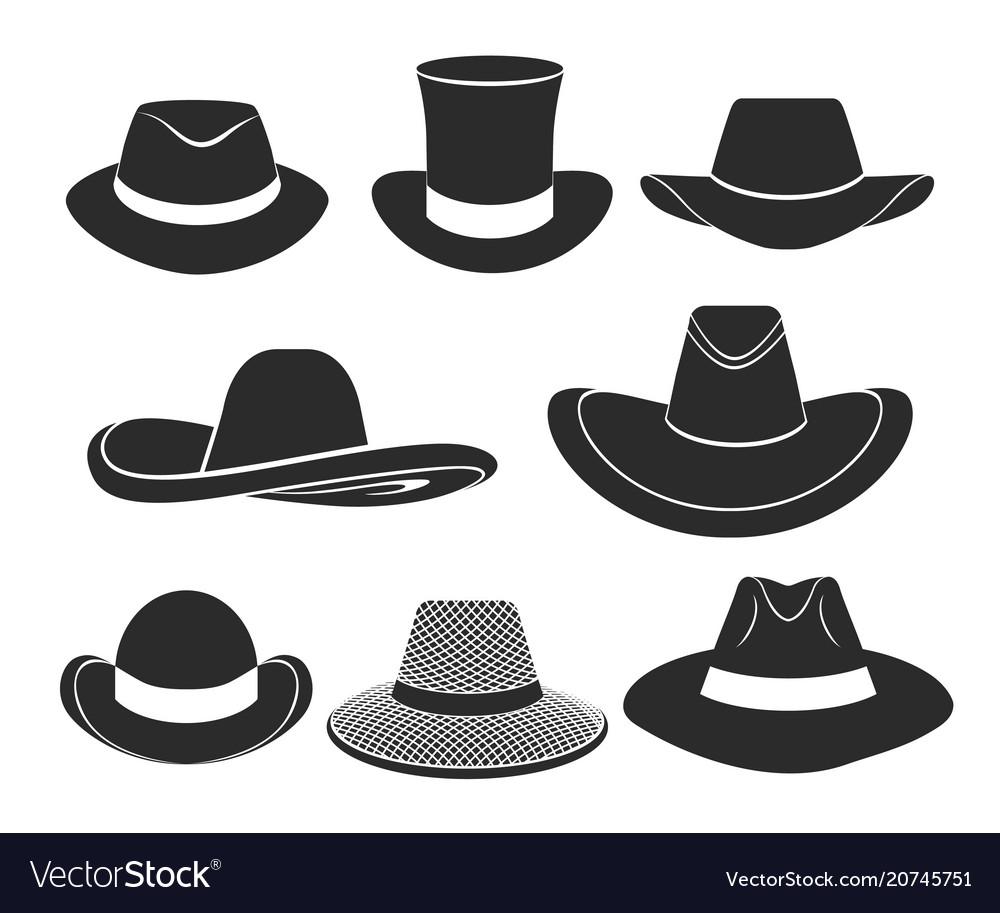 Black hats icons set