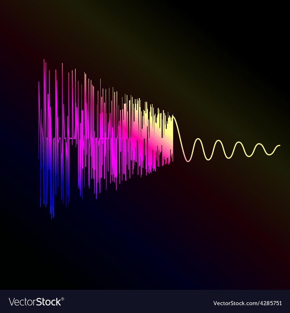 Bright sound wave on a dark blue background EPS