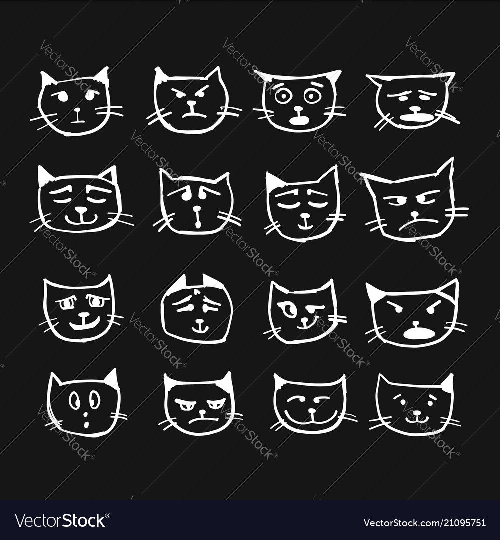 Cat faces sketch for your design