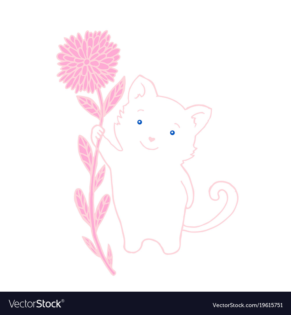 Cute fluffy white kitten with blue eyes holds a vector image