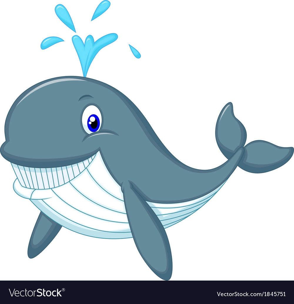 Cute whale cartoon Royalty Free Vector Image - VectorStock
