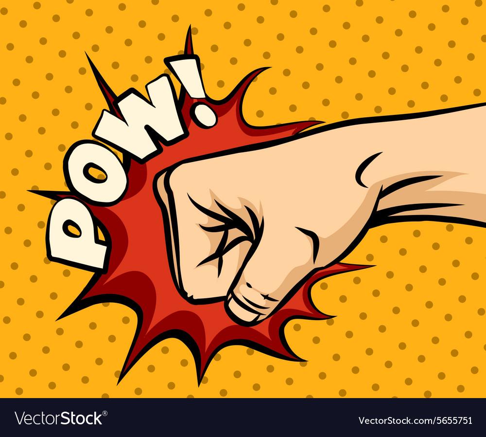 Fist hitting fist punching in pop art style