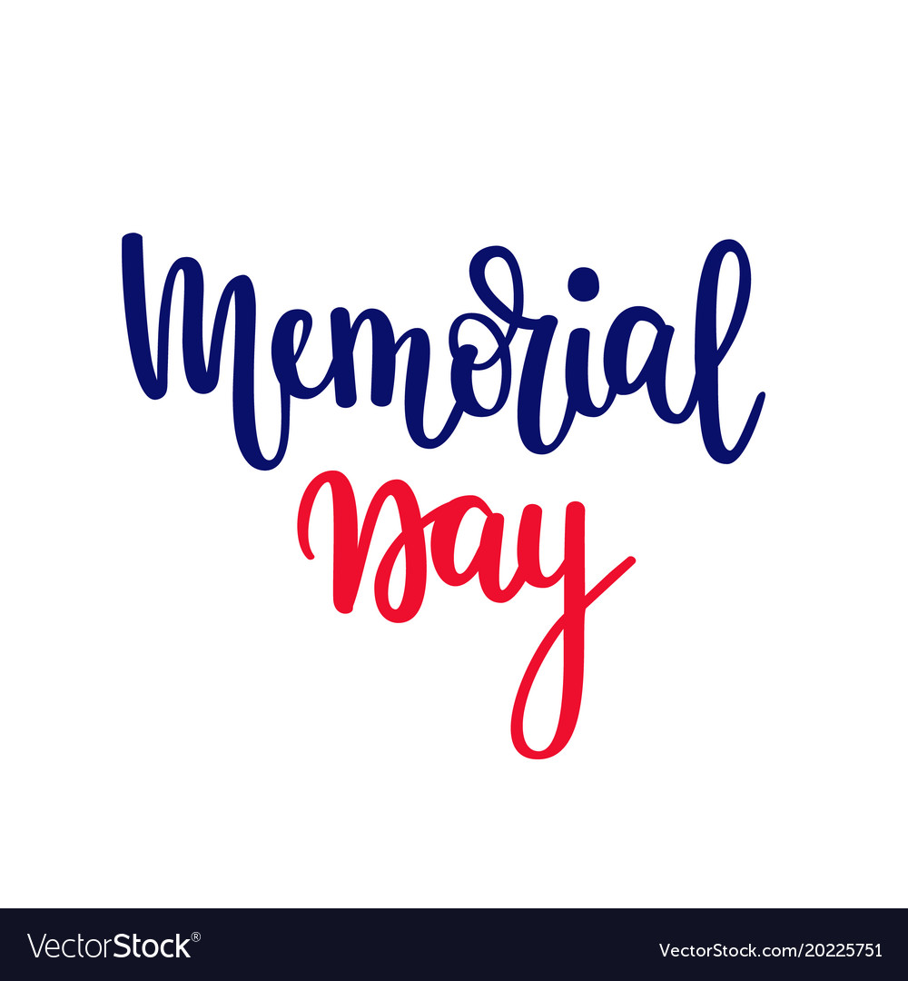 Memorial day lettering patriotic american