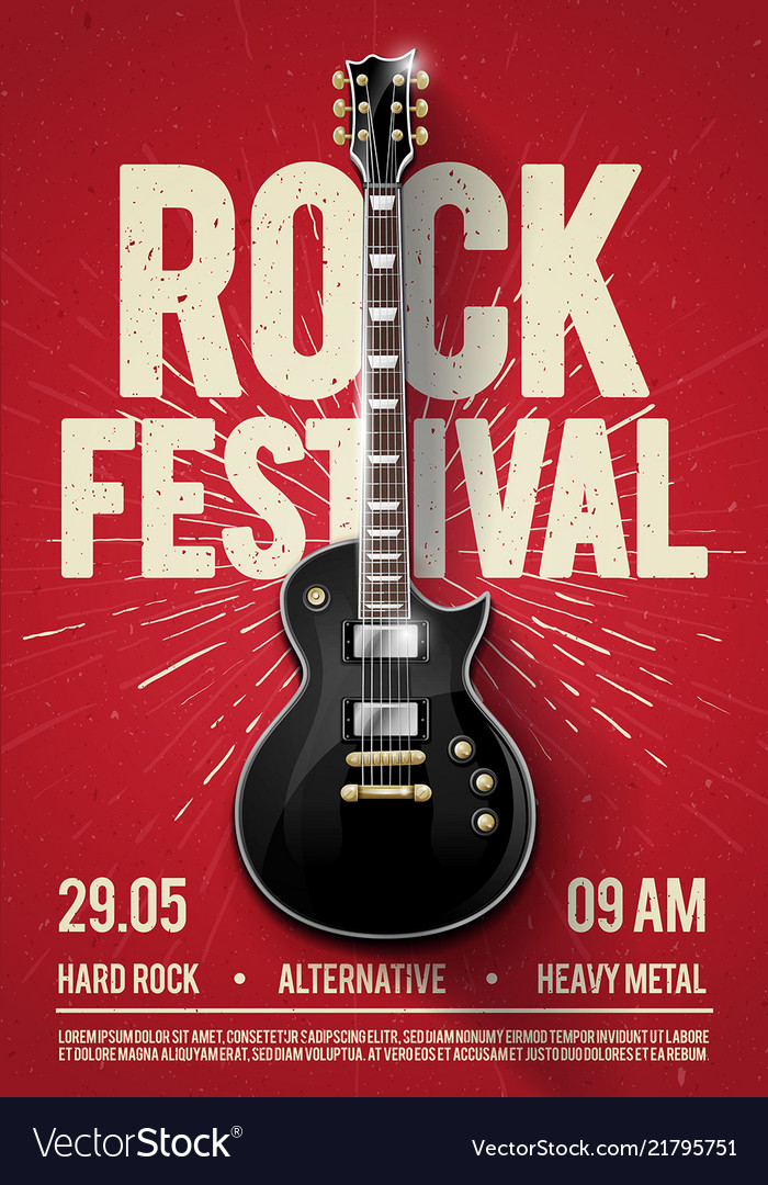rock festival concert party flyer poster template vector image