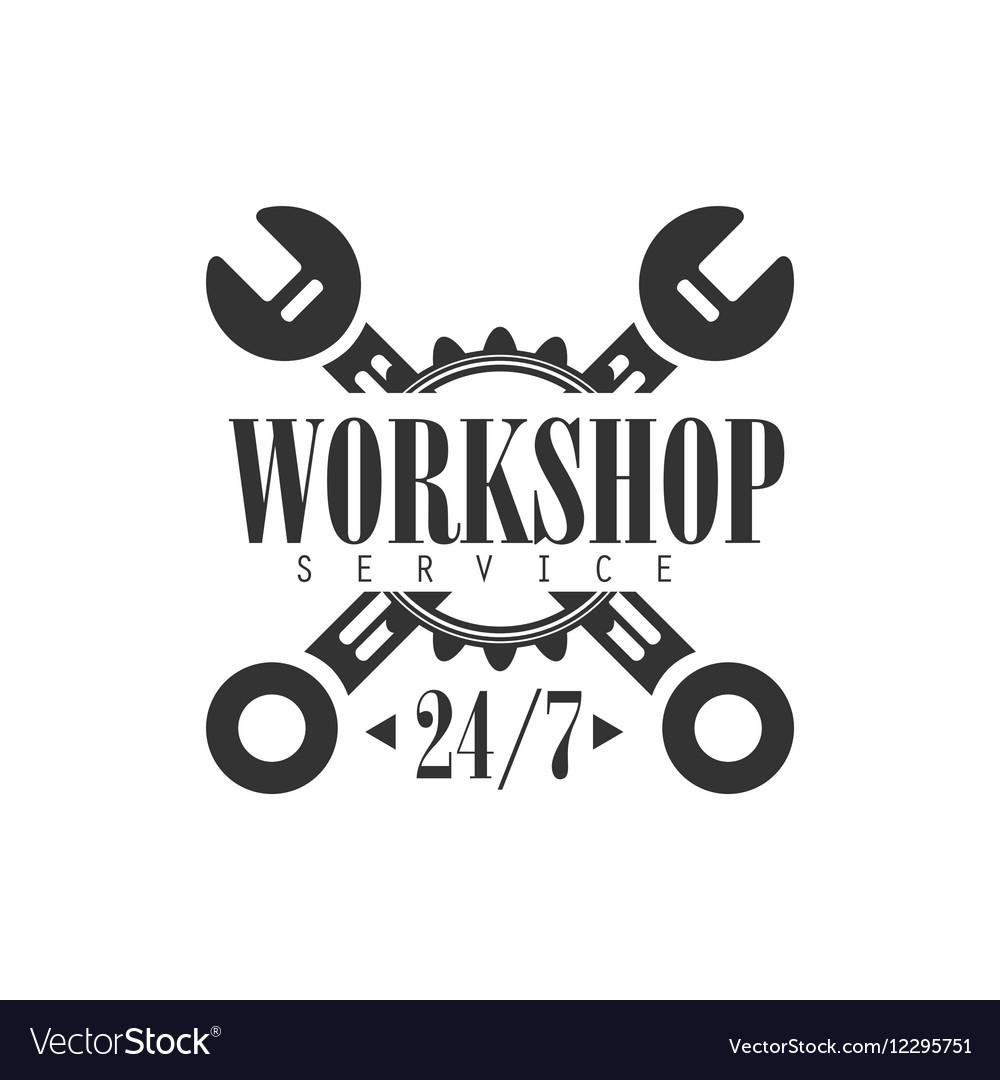 Round The Clock Car Repair Workshop Black And
