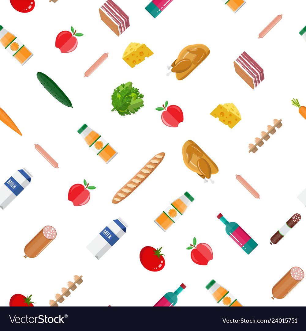 Seamless grocery set pattern