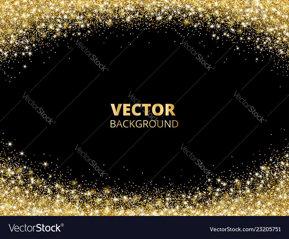 Sparkling glitter border frame falling golden