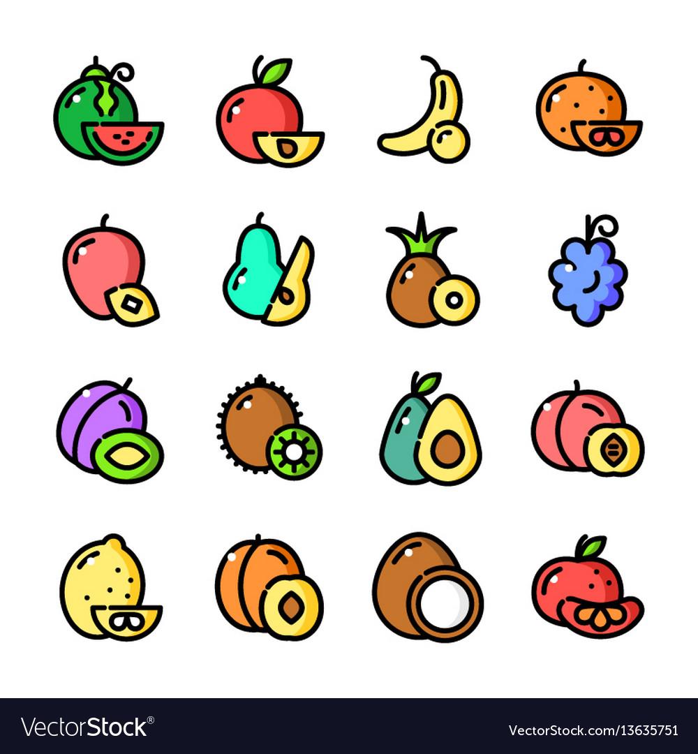 Thin line fruits icons set