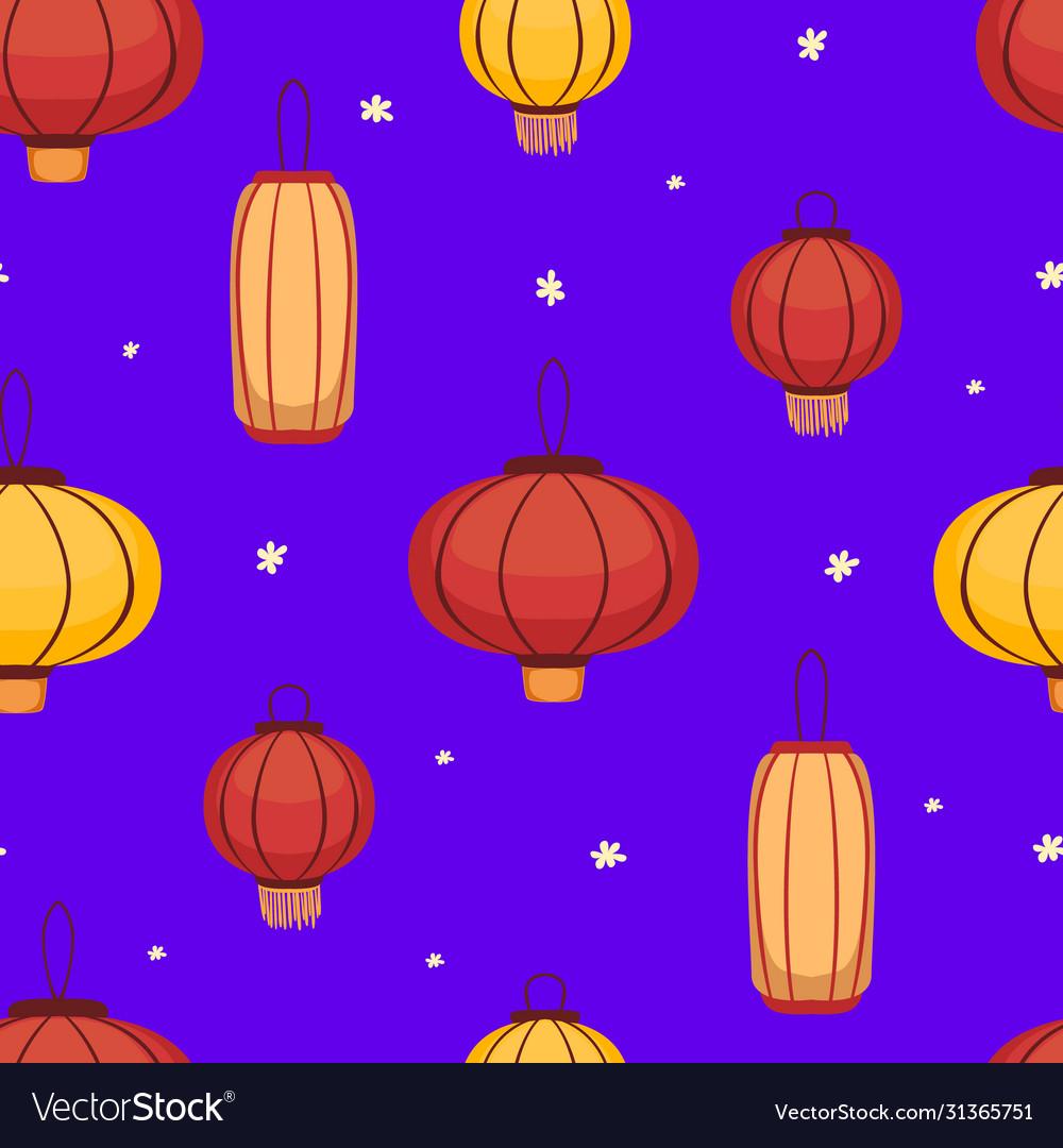 Traditional asian lanterns seamless pattern