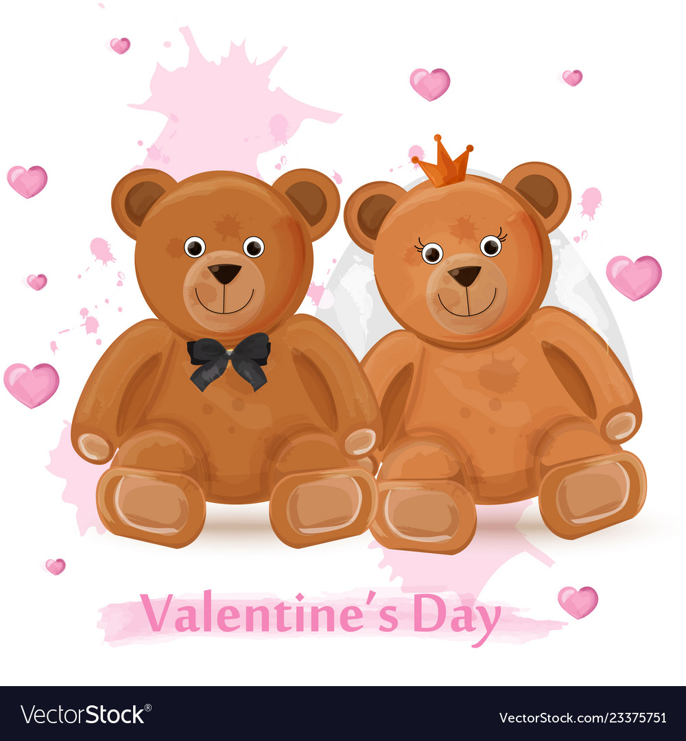 Valentine day card with teddy bears couple