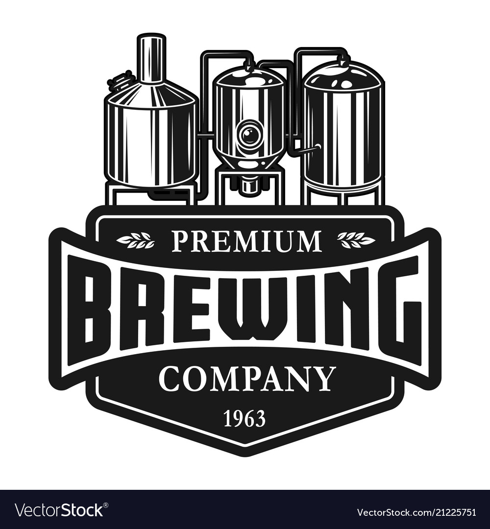 vintage beer production label template royalty free vector