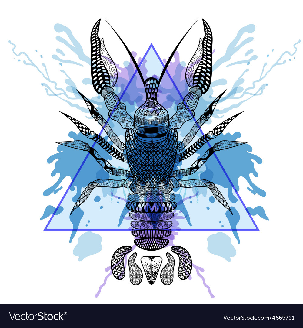Zentangle stylized Lobster Crawfish in triangle vector image