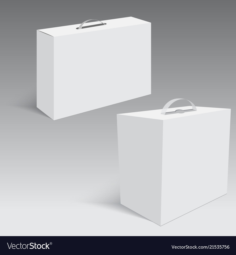 Blank paper or cardboard box with handle