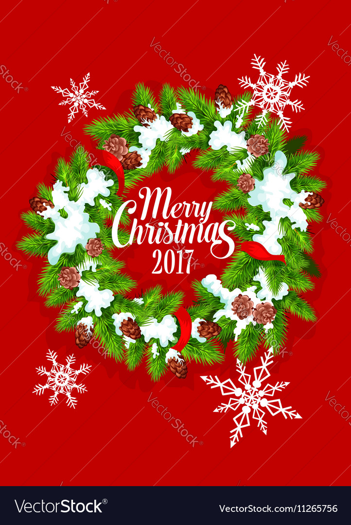 Christmas tree wreath with snowflake poster design vector image