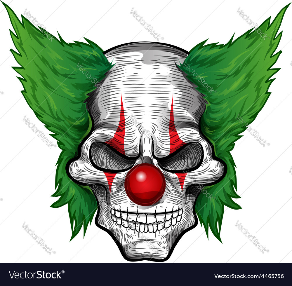 Clown skull isolated on white background vector image