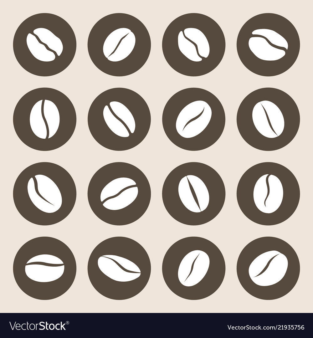 Coffee beans flat icon set caffeine symbol