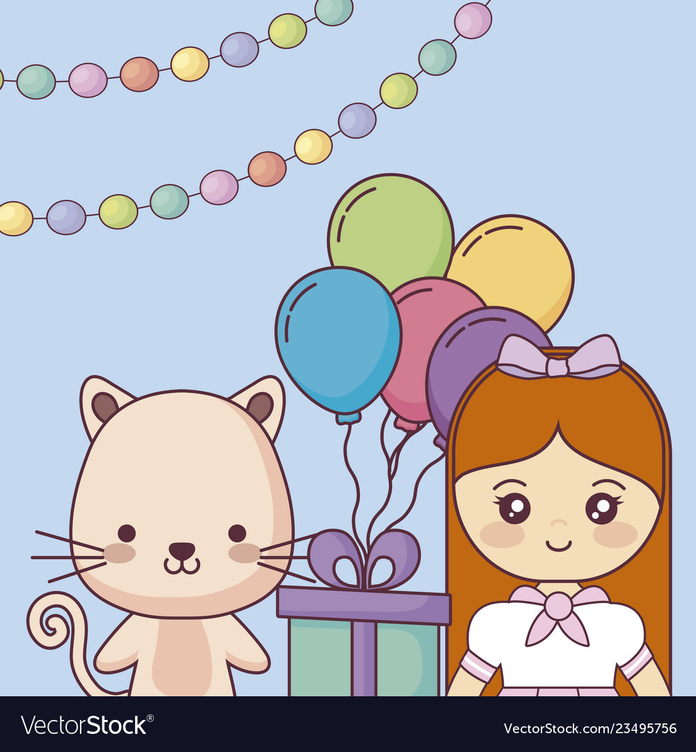 Cute Cat With Little Girl Happy Birthday Card Vector Image