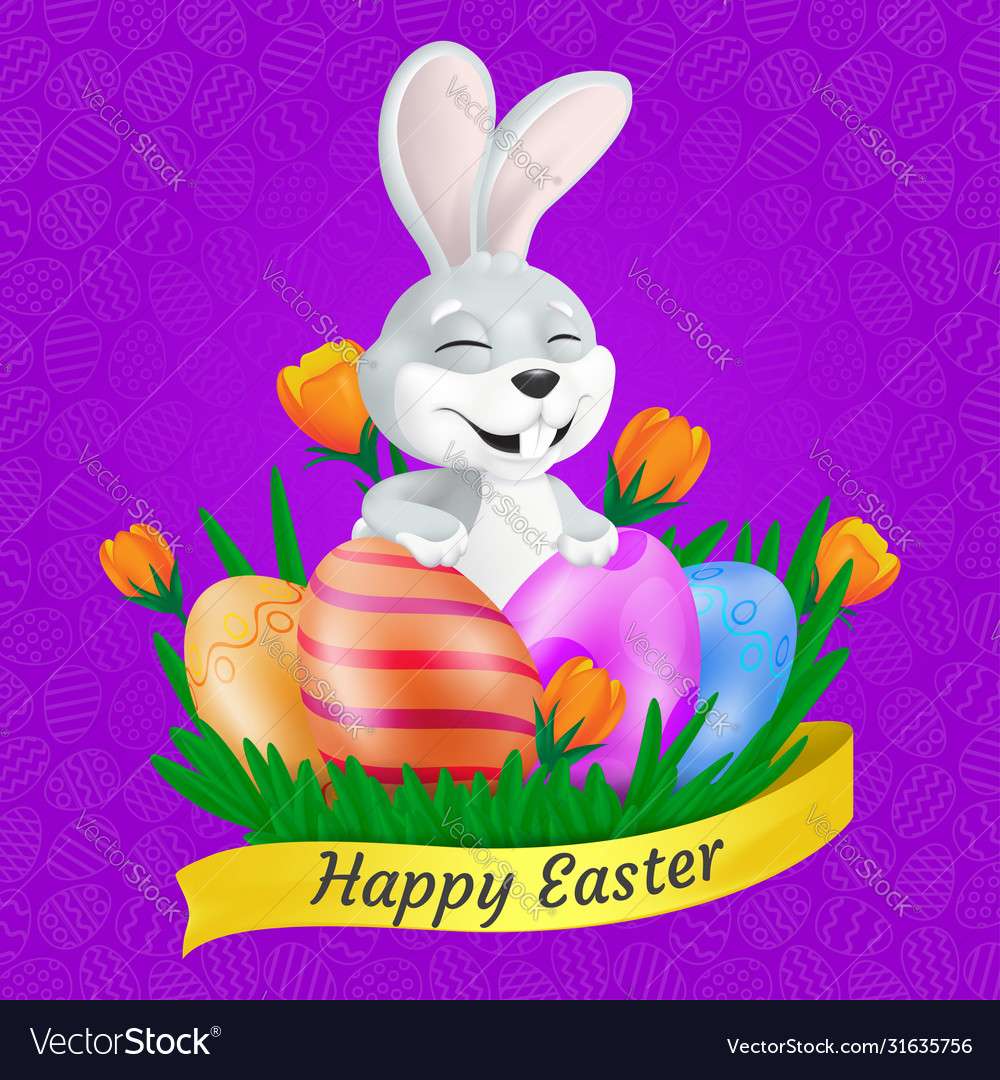Cute smiling easter bunny with painted eggs on