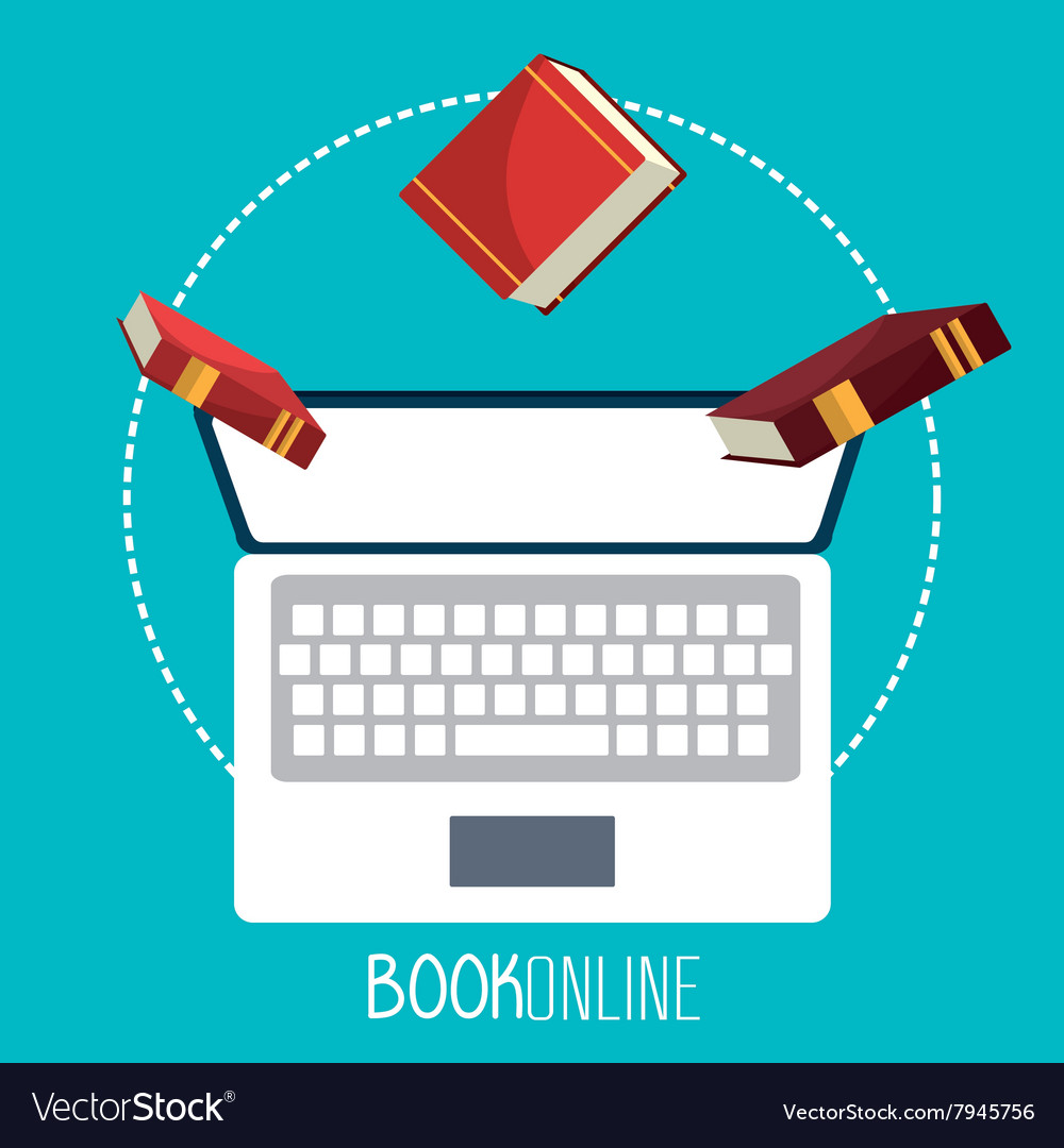 ELearning and online books vector image on VectorStock